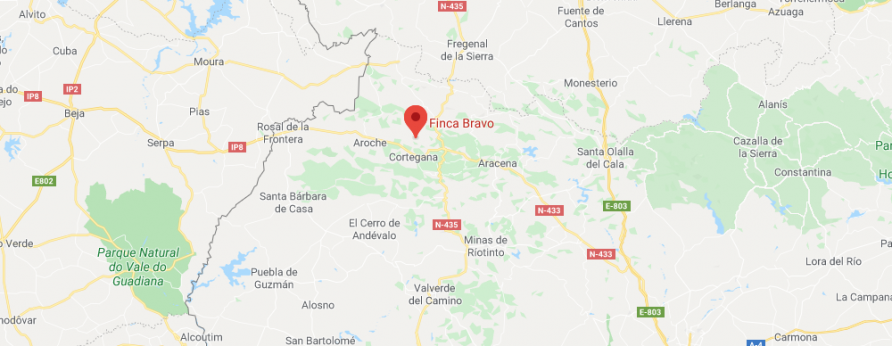 map of area around Finca Bravo